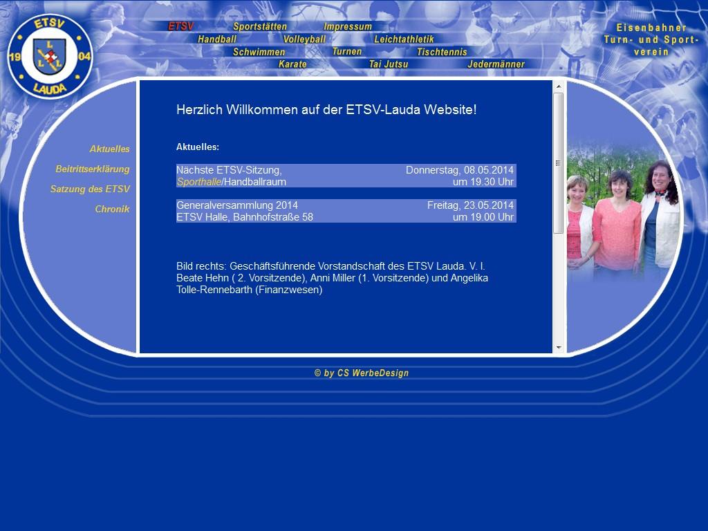 So sah die bisherige Webseite des ETSV Lauda seit dem Jahr 2003 aus.
