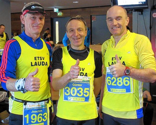Pulverisierten den 15 Jahre alten Vereinsrekord im Halbmarathon der Altersklasse 55: Joachim Rothengast, Günter Erhardt und Matthias Götzelmann (von links).